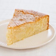 French Apple Cake. To achieve the best of both worlds: a dessert with a custardy, apple-rich base beneath a light, cakelike topping, we added egg yolks to one part of the batter to create the custardy base and flour to the rest to form the cake layer above it.
