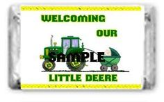 30 John Deere Baby Shower Tractor & Wagon Favors Hershey* Nugget Candy Labels