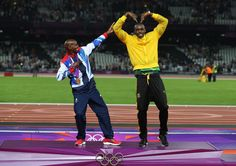 An amazing MOment! Mo Farrah and Usain Bolt, 2 legends giving each other respect. This is my favourite picture of the games.