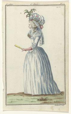 A.B. Duhamel   Magasin des Modes Nouvelles Françaises et Anglaises, 10 avril 1787, Pl.  I, A.B. Duhamel, Buisson, 1787   Ongetrouwde jonge vrouw, lopend naar links, gekleed in een 'fourreau' van wit linnen met geschulpte zoom. Om de hals een fichu. Op het hoofd een muts van tule: 'bonnet à la Béarnaise', met ingeweven gekleurde bloemen. Verdere accessoires: oorbel, bloemcorsage, lange handschoenen, waaier. De prent maakt deel uit van het 15e Cahier, 2e année, uit de serie Magasin des Modes…