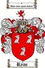 Ryan    family crest / coat of arms from www.4crests.com  #coatofarms #familycrest #familycrests #coatsofarms #heraldry #family #genealogy #familyreunion #names #history #medieval #codeofarms #familyshield #shield #crest #clan #badge #tattoo