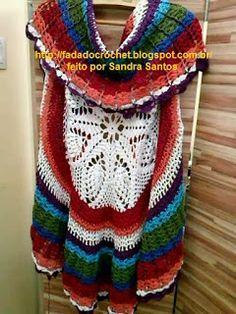 * Pérolas do Crochet: Maxi Colete em Crochet COM PAP
