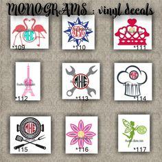 MONOGRAM vinyl decals | name | initial | decal | sticker | car decals | car stickers | laptop sticker - 109-117