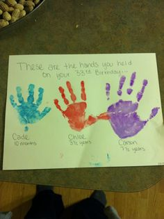 Child Handprint craft for gift. Mom's Birthday. Dad's Birthday. Mother's Day. Father's Day. Grandparent's Day. Easy and fun project to do with the kids. Keepsake.