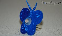 BUTTERFLY RING  Wool Felt Butterfly Ring  Royal by YouniquesRings, $48.00