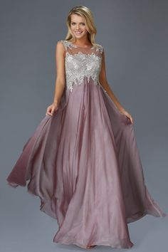 G2098 High Neck Empire Waist Chiffon Mother of the Bride Dress Evening Gown