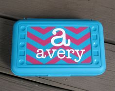 BACK TO SCHOOL-Personalized Chevron Pencil Box/ Art Supply holder. $7.00, via Etsy.