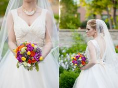 Bright coloured wedding bouquet with purple, yellow, orange flowers.  Flowers by Flore & Sens Atelier Floral.  Photo by Black Lamb Photography.