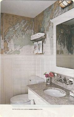 Bathroom - board n batten, framed mirror, undermount sinks, wall mount faucet fixtures!