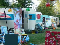Colorful vintage camping trailers.