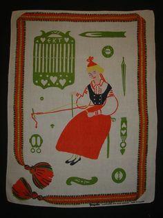 "Vintage TAMPELLA Finland EVA TAIMI ""LAPPFJARD"" Linen Kitchen Dish Towel"