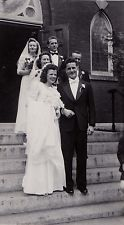 Vintage Antique Photograph Wedding Bride & Groom Wedding Party Church Steps 1946