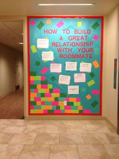 How to build a great relationship with your roommate. Lego floor theme. First bulletin board as an RA.