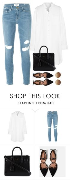 """""""simple"""" by nadiaamrc ❤ liked on Polyvore featuring Tomas Maier, Frame, Yves Saint Laurent, Zara and Victoria Beckham"""