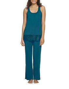 Felina 2-Piece Alice Pajama Set Women's Ocean Depth Large