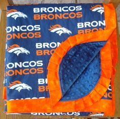Denver Broncos Minky Blanket  HUGE  Lap Sized by laurelwhite, $82.00