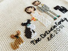 Need a wedding gift that knocks their socks off? See the bride and groom come to life in a Custom Cross Stitch Portrait! stitchingood is obsessed with detail and the likeness of your loved ones is uncanny!  OVERVIEW  ✁ This portrait listing is for a custom cross stitched portrait featuring a bride and groom in wedding attire. (Casual clothing available upon request with no difference in price.)  ✁ Finished to your specifications. See below.   DETAILS & FINISHINGS  ✁ Your portrait is handm...