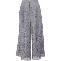 Adam Lippes wide leg culottes ($2,090) ❤ liked on Polyvore featuring pants, capris, grey, grey pants, adam, gray pants, wide leg pants and wide leg trousers