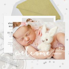 Birth Announcement Template  Baby Announcement Instant