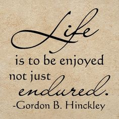I think we all need to be reminded of this every once in a while. :-) lift is to be enjoyed not just endured - gordon b hinckley Prophet Quotes, Lds Quotes, Quotable Quotes, Great Quotes, Quotes To Live By, Uplifting Quotes, Mormon Quotes, Qoutes, Awesome Quotes