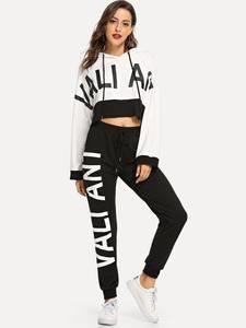 Shop Drop Shoulder Letter Crop Hoodie and Sweatpants Set online. SheIn offers Drop Shoulder Letter Crop Hoodie and Sweatpants Set & more to fit your fashionable needs. Sporty Outfits, Cute Outfits, Fashion Outfits, Fashion Clothes, Business Casual Jeans, Drawstring Pants, Two Piece Outfit, Cropped Hoodie, Dance Outfits