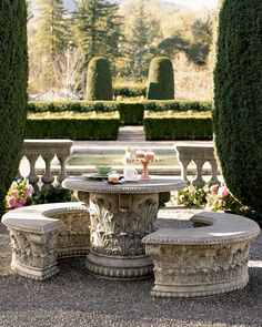 I saw two concrete benches and a table just like this at an estate sale...