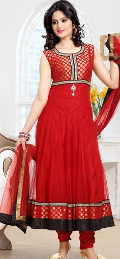 Red brocade and net anarkali churidar: KSL2483
