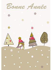 Sur cette carte, un oiseau dans la neige pour souhaiter une bonne année, à imprimer