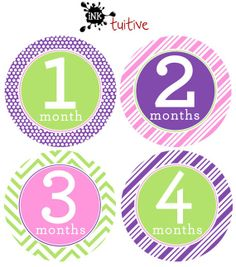 Onesie Stickers - Trendy - Monthly Onesie Stickers, Baby Month Stickers, Growth Stickers, 1-12 Months Waterproof