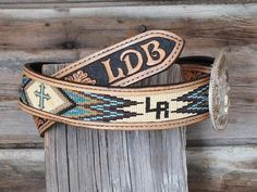 Hand made Beaded Inset Leather Belt