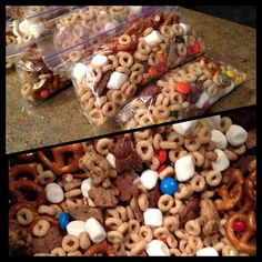 Bear Bait trail mix -Cheerios, pretzels, M&M's, Teddy Graham's (we used chocolate and chocolatey chip), and mini marshmallows. Could substitute Honey Nut Cheerios if there are no nut allergies