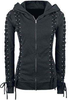 Chic Hooded Long Sleeve Lace-Up Zippered Hoodie For Women