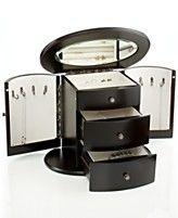 Wallace Jewelry Box, Dark Mahogany Deluxe Oval Jewelry Box