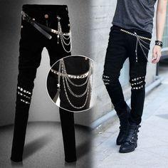6365ece50022 Details about Men Chic Punk Rock Casual Trousers Slim Fit Zip Decor Skinny  Stretch Jeans Rivet