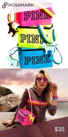 ⛱Victoria's  Secret PINK Cooler⛱ Lunch Box Size✨ Insulated Cooler✨ Includes : Detachable Dog KeyChain. Adjustable Shoulder Straps. Victoria's Secret Bags Mini Bags