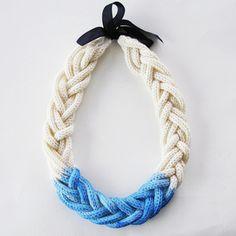 Six Cord Dip Dye Necklace in organic fairtrade cotton