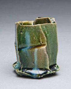 Artist: Shigemasa Higashida, Title: Oribe Sake Cup Large - click for larger image