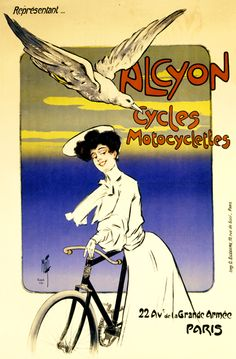 Alcyon Cycles Motocyclettes Vintage French Bicycle Poster by Misti