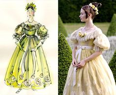 Powell aimed to create a dramatic contrast between what Victoria wore before and after she became Queen. For this reason, Blunt's character begins the film wearing doll-inspired, flowery designs. 'Her clothes resembled little girls party dresses that were very pretty and froth,' the designer explained.