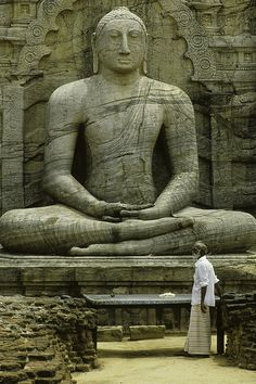 Statue of Buddha, Polonnaruwa, Sri Lanka. Carved out of the granite cliff. Tibet, Statues, Sri Lanka Holidays, Buddhist Philosophy, Religion, Buddha Buddhism, Thinking Day, Asia Travel, Travel Pictures