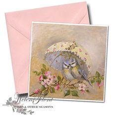 St valentine day card - 2 birds under an flowery parasol Card+ envelope 15 x 15 cms 5.9 x 5.9 in