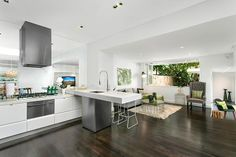 Example or ceiling height drop from kitchen to living room