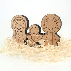 Kawaii children's wooden nativity set - so cute!