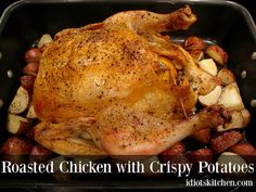 Roasted Chicken with Crispy Potatoes - I love a good, simple roasted chicken recipe. Happily this one also gives you golden, roasted potatoes at the same time. Crispy Potatoes, Roasted Potatoes, Roasted Chicken, Kitchen Recipes, Chicken Recipes, Turkey, Food Ideas, Simple, Baked Chicken