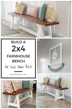 how to build a 2x4 farmhouse bench for less than $20