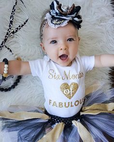 1/2 Half 6 Months Birthday Onesie® Sparkly by WelcometoWonderland