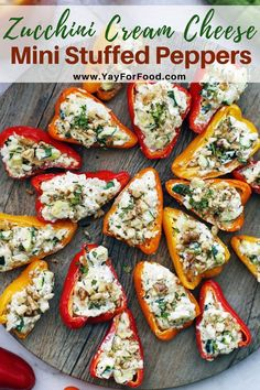 Zucchini Cream Cheese Mini Stuffed Peppers Delicious cream cheese and sweet vegetables are the perfect filling for this mini stuffed bell pepper recipe A quick and colourful vegetarian appetizer or side dish that s gluten-free too yayforfood Cream Cheese Stuffed Peppers, Stuffed Mini Peppers, Vegetarian Stuffed Peppers, Vegetarian Recipes, Cooking Recipes, Healthy Recipes, Keto Recipes, Easy Vegetarian Appetizers, Vegetable Appetizers