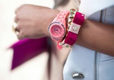 pink watch, why not? Jewelry Accessories, Fashion Accessories, Fashion Jewelry, Jewelry Box, Pink Watch, Cute Watches, Twist And Shout, Vogue, Fashion Beauty