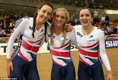 Laura Trott, Dani King and Elinor Barker after their 2013 team pursuit victory at the World Championships
