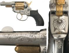 Magnificent Gustave Young Factory Exhibition, Engraved, Gold and Nickel-Plated Colt Sheriff's Model 1877 Lightning Double Action Ejectorless Revolver.